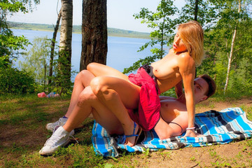 Having sex with a hot stranger in the woods